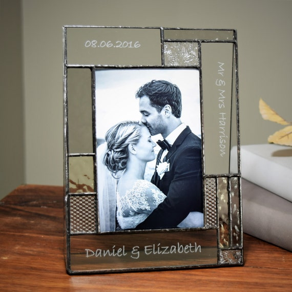 Personalised Photo Frame Wedding Gift: Wedding Picture Frame Gift Personalized Stained Glass Photo