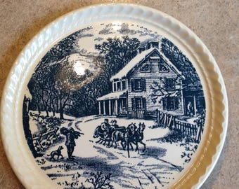 """7 3/4"""" The currier & Ives Pattern plate by Royal China in Sebring Ohio"""