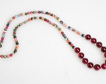 Glass and Agate Beaded Necklace