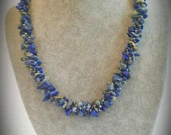 Handmade Turkish crochet bead rope with natural lapis lazuli Crochet bead neckalce Crochet necklace