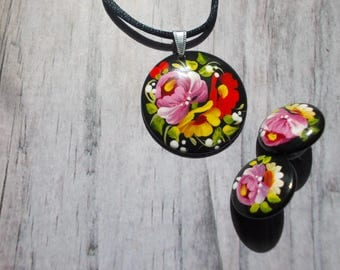 Gift for her wooden pendant and stud earrings floral jewelry sets girlfriend gift wife gift sister gift best friend teen aunt birthday gift