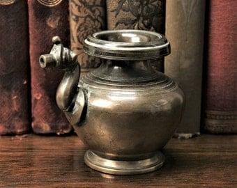 20% OFF SALE!!   Antique Indian Bronze Kendi Makara Spout Hindu Ritual Object Purification Water Vessel