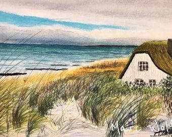 Impression Ahrenshoop, Pastellmalerei. Maritimes Originalgemälde