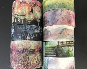 """24"""" SAMPLES of limited edition Taiwanese/Japanese artist washi tape (M154)"""