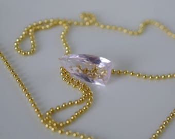 Ball chain with morganite pendant necklace 925 sterling silver gold plated 41 cm