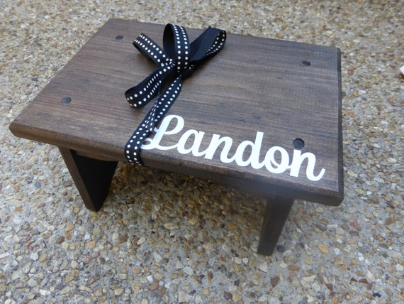Child Wooden Personalized Step Stool Walnut Stain With
