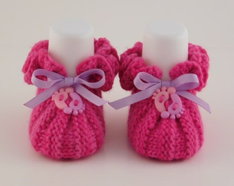 Pink Knit Booties, Newborn Baby Booties, Baby Girl Gift, Merino Wool Boots, Baby Shower Gift, Warm Cozy Boots, Knitted Baby Gift, Crib Shoes