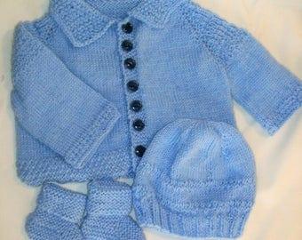 Hand Knit Baby Boy Sweater Set  0-3 Months