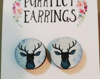 Wooden 16mm Moose/Deer stud earrings
