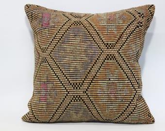 24x24 Bohemian Kilim Pillow Throw Pillow Sofa Pillow 24x24 Naturel Handwoven Kilim Pillow Throw Pillow Cushion Cover  SP6060-1049