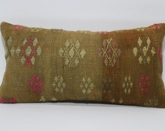 12x24 Decorative Kilim Pillow Sofa Pillow Ethnic Pillow 12x24 Bohemian Turkish Kilim Pillow Throw Pillow Ethnic Pillow SP3060-733