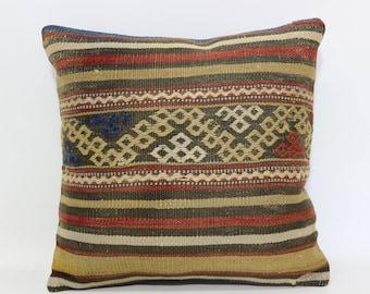 Vintage Kilim Pillow Home Decor Ethnic Pillow 16x16 Decorative Kilim Pillow Anatolian Kilim Pillow Throw Pillow Cushion Cover SP4040-2453