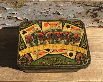 Vintage Tobacco Tin, 3 Kings Tin, Man Cave, Fathers Day Gift, Vintage Tin, 1950s, 1960s, Tobacco Tin, Collectables, Kings, Gifts For Him