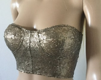 Crop Top Sequinned Bustier All Sizes FREE WORLDWIDE SHIPPING!