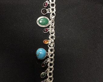 Multi Stone Charm Bracelet