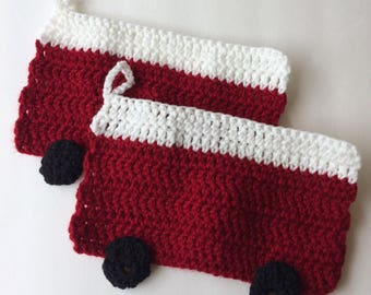 Crochet red vw westfalia camper bus potholders trivets Set