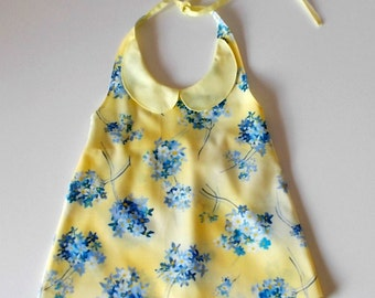 Yellow and Blue 'Forget me not'  Halterneck Top Girls Size 2