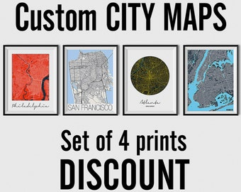 Set of 4 City Maps - Multiprint Discount - custom city map