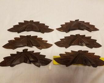 Set of 6 antique walnut eastlake style 1880s drawer handles pulls