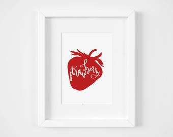 Red Wall Art for Kitchen | Illustration Print | 5x7 Graphic Art Print | Strawberry Art Print | Kitchen Wall Art | Strawberry Wall Art