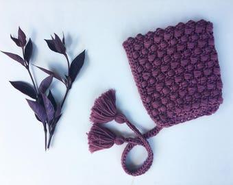 MAUVE Puff Stitch Pixie Bonnet (12-18 months)