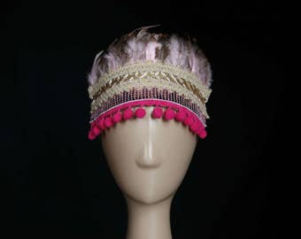 Children or Adult Sequin, Feather, Pom Pom, Blue, Pink, Red Feather Headpiece, Headband, Headdress for Party, Festival Fun.