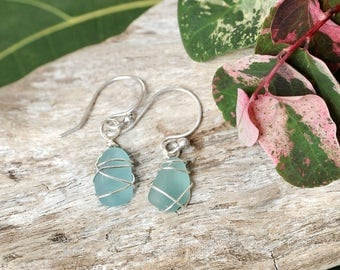 Sterling Silver Wire Wrapped Sea Glass Earrings, Aquamarine Sea Glass Drop Earrings, Sea Glass Drops