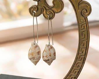 """1"""" Triton Shell Earrings , Sterling Silver Hawaiian Shell Earrings, Kauai Shell Dangle Earrings, Marquis Style Earrings in Silver 212"""