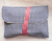 Blue gingham reversible Pocket Navy and white and old linen white by AUNT CATH