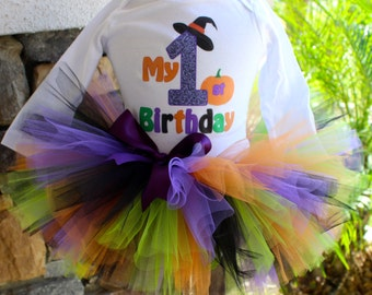 Halloween Birthday Tutu, Halloween Tutu, Witch Tutu, Witch Birthday Outfit, First Birthday, Girl Birthday