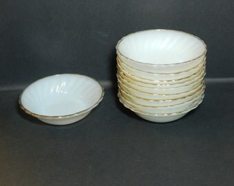 Anchor Hocking Milk Glass Gold Trimmed Berry Bowls, Set of 10