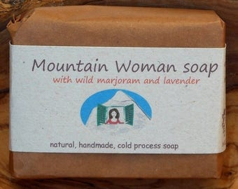 Mountain Woman Soap, natural, eco friendly gift, cold process, shea butter, lavender, wild marjoram, green clay.