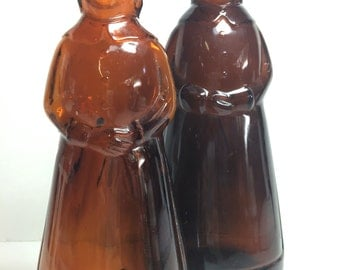 Pair of Vintage Brown Glass Mrs. ButterWorth Syrup Jars Bottles