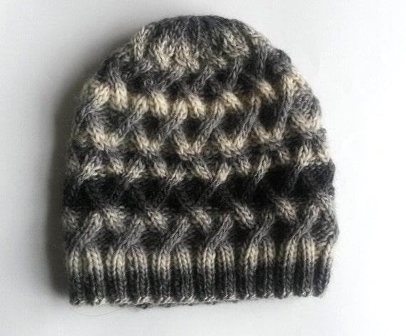 Grey Aran Beanie: wool handknit hat; original design. Made in Ireland. Men's beanie. Women's beanie. Cable knit hat. Wool knit beanie. Grey