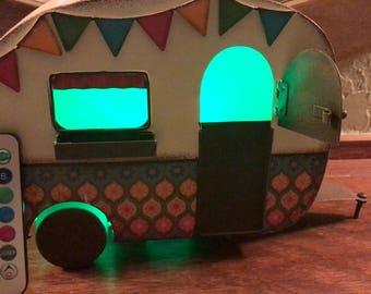 Mini Camper with Remote control LED lights (multi-colored)