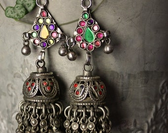Afghan chandelier earrings, Kuchi chandelier earrings, Burning man festival earrings, Vintage tribal bells, Gypsy Boho Hippie earrings