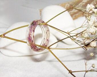 Real Plants Ring, Botanical Resin Ring, Flower Resin Ring, Real Plants Jewelry, Real Flower Ring, Pressed Flower Ring, Nature Flower Jewelry