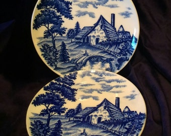 Cottage Chic Blue and White Plates
