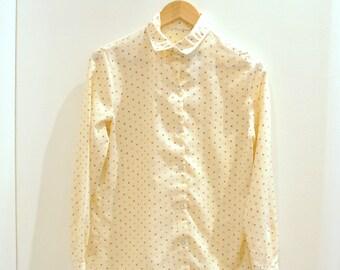 Vintage Women's Polka Dot 70's Blouse, polyester polka dot blouse, 1970s style bouse, brown polka dot blouse, Size Small