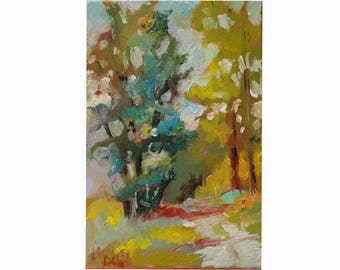Small Oil Painting,  Forest in the Afternoon, Abstract Lanscape, Original Art