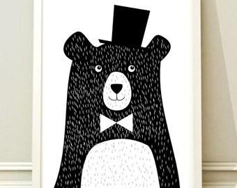 Nursery Print, Instant Download, BEAR poster, Printable Kids, Nursery Art Printable, Nursery Decor