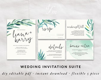 Wedding Invitation Kit, Printable Wedding Set, Calligraphy Invitations,  Floral Watercolor Invites, Wedding