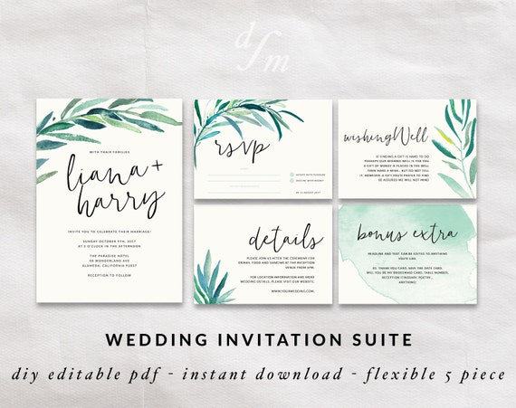 Printable Wedding Invitations Kits: Wedding Invitation Kit Printable Wedding Set Calligraphy