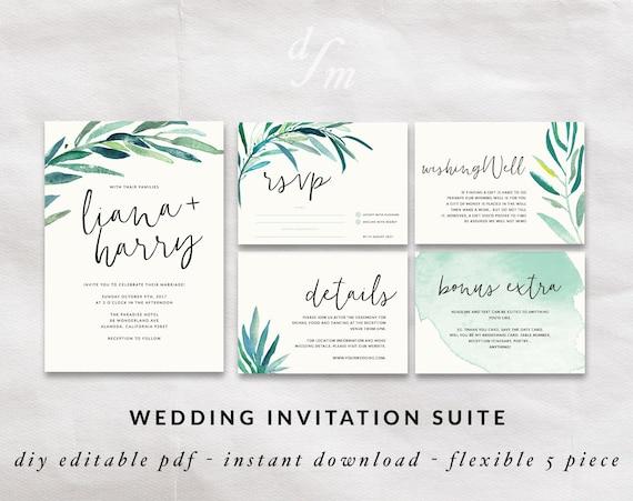 Wedding Invitations Kit: Wedding Invitation Kit Printable Wedding Set Calligraphy