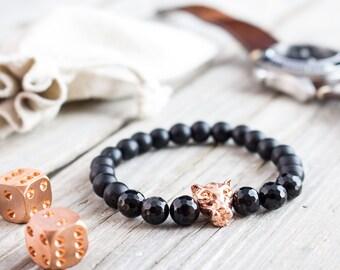 8mm - Matte black onyx and faceted black onyx beaded rose gold Leopard head stretchy bracelet, mens bracelet, womens bracelet