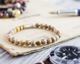 6mm - Brown jasper stone beaded stretchy bracelet, custom made mens bracelet, womens bracelet, mens bracelet