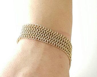 Handmade Renaissance Style Micro-weave Bracelet in Gold Fill