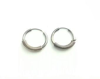 Petite Vintage Sterling Silver Coil Wrapped Hoop Earrings