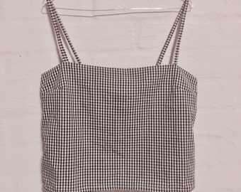 Singlet string top- gingham cotton or linen