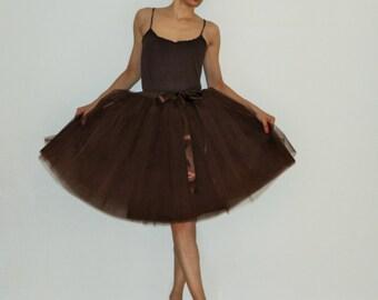 Tulle skirt petticoat Brown 55 cm length skirt